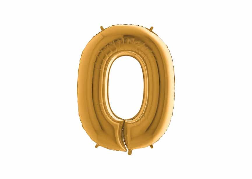 Folieballon Cijfer 0 - Goud - 101cm